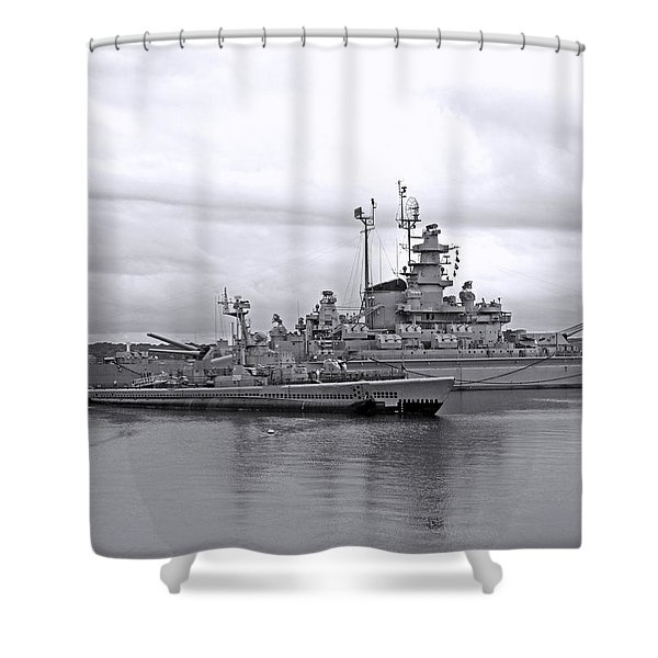 Uss Lionfish Bw Shower Curtain by Barbara McDevitt