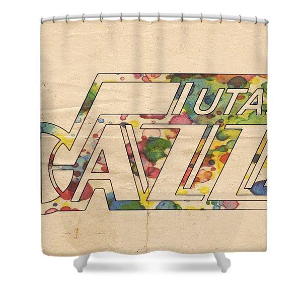 Utah Jazz Retro Poster Shower Curtain by Florian Rodarte
