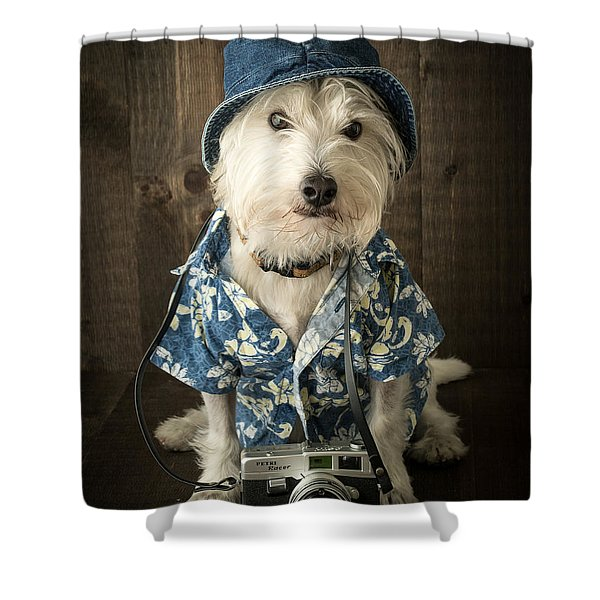 Vacation Dog Shower Curtain by Edward Fielding