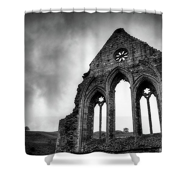 Valle Crucis Abbey Shower Curtain by Dave Bowman