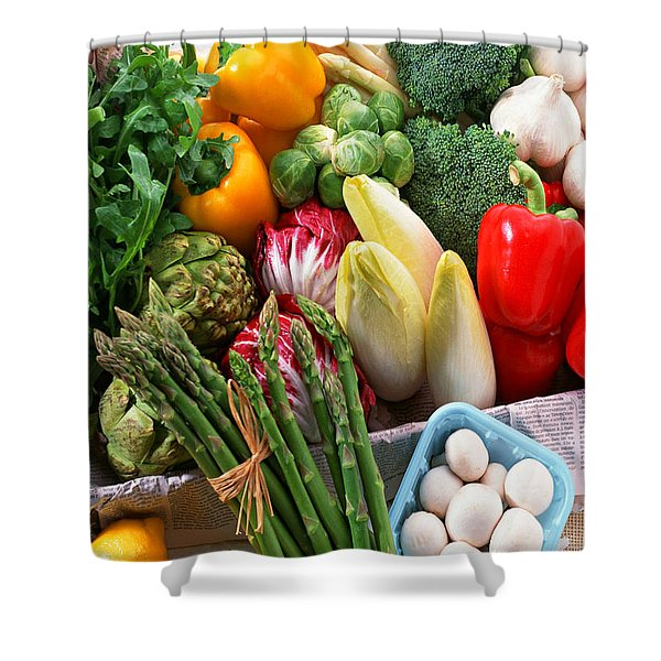 Various Vegetables Shower Curtain by Lanjee Chee