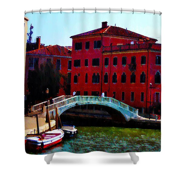 Venice Bow Bridge Shower Curtain by Bill and Pat Cannon