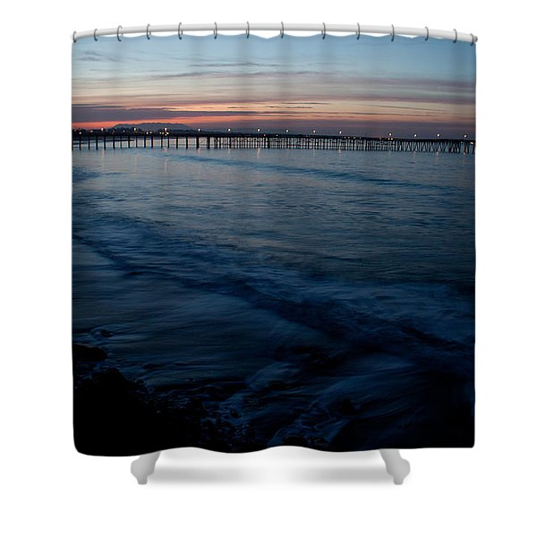 Ventura Pier Sunrise Shower Curtain by John Daly