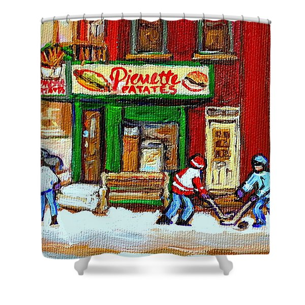 VERDUN HOCKEY GAME CORNER LANDMARK RESTAURANT DEPANNEUR PIERRETTE PATATE WINTER MONTREAL CITY SCEN Shower Curtain by CAROLE SPANDAU