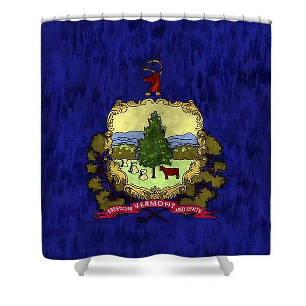 Vermont Flag Shower Curtain by World Art Prints And Designs