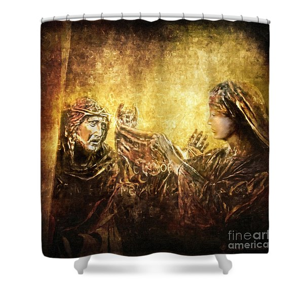 Veronica Wipes His Face Via Dolorosa 6 Shower Curtain by Lianne Schneider
