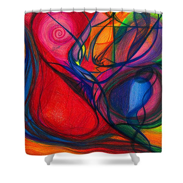 Vibrational Heart Healing - Sounds of Radiant Joy ' Purity of Heart ' Soul ' Mind and Body Aligned Shower Curtain by Daina White