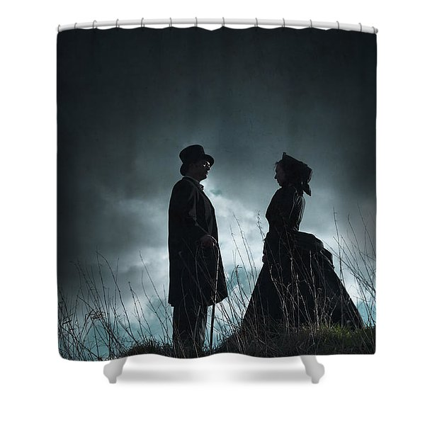 Victorian Couple Face On Another Before A Stormy Sky Shower Curtain by Lee Avison
