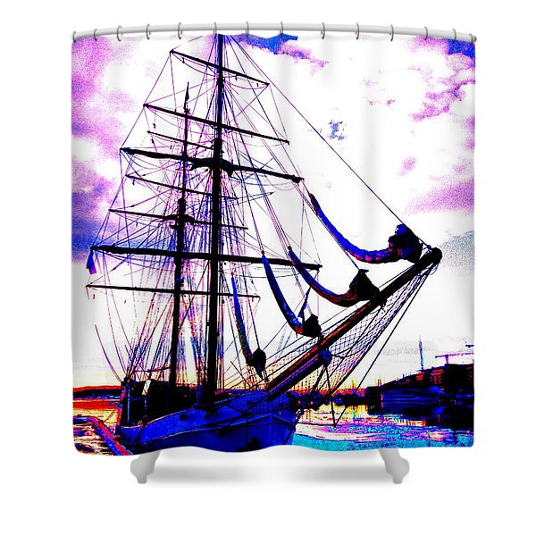 Vikings Go Sailing Shower Curtain by Hilde Widerberg