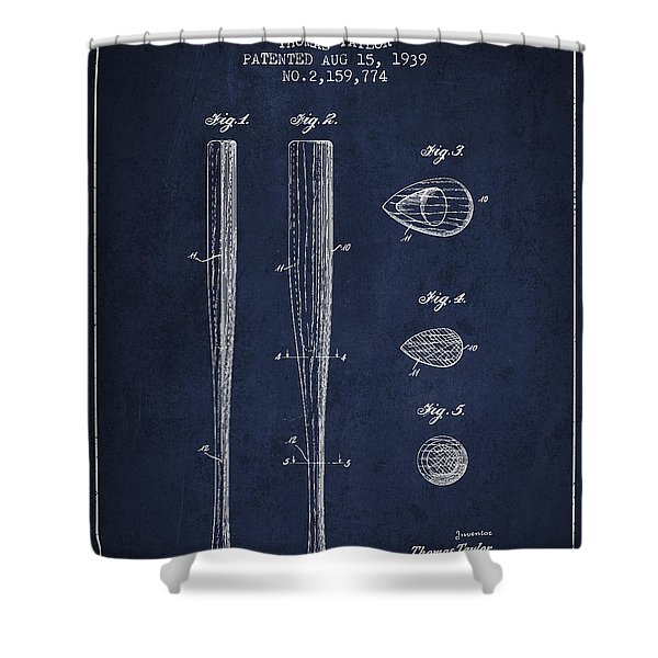 Vintage Baseball Bat Patent From 1939 Shower Curtain by Aged Pixel
