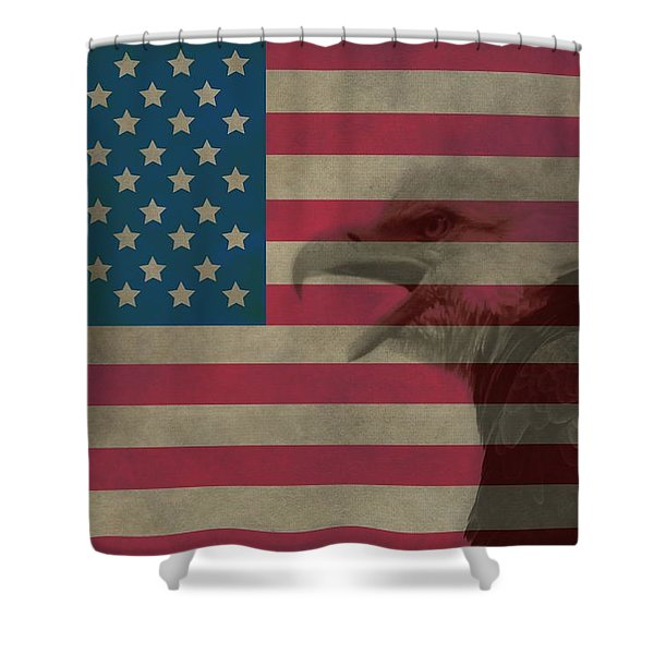 Vintage Flag With Bald Eagle Shower Curtain by Dan Sproul