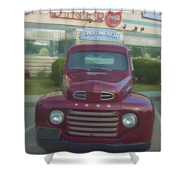 Vintage Ford Truck Outside The Tiltn Diner Shower Curtain by Edward Fielding