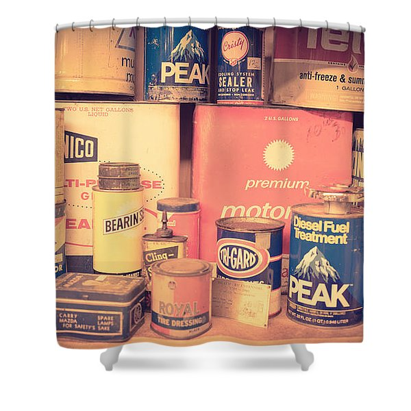 Vintage Gas Service Station Products Shower Curtain by Edward Fielding