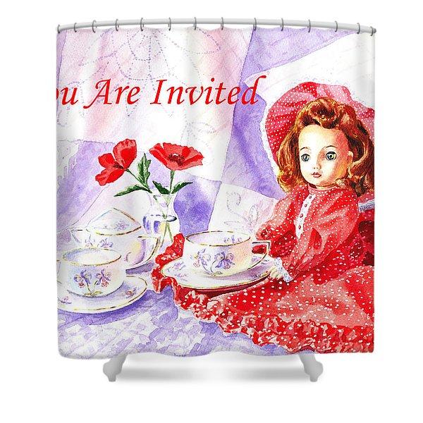 Vintage Invitation Shower Curtain by Irina Sztukowski
