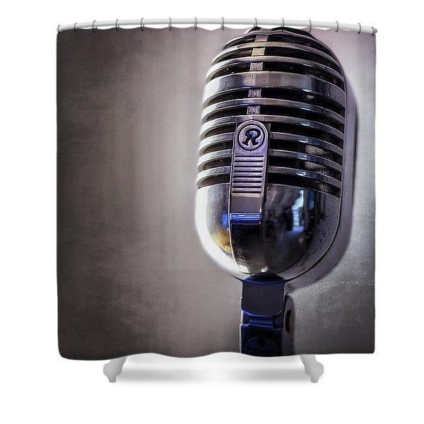 Vintage Microphone 2 Shower Curtain by Scott Norris