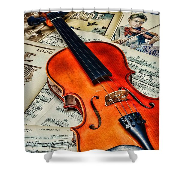 Vintage Music And Violin Shower Curtain by Paul Ward