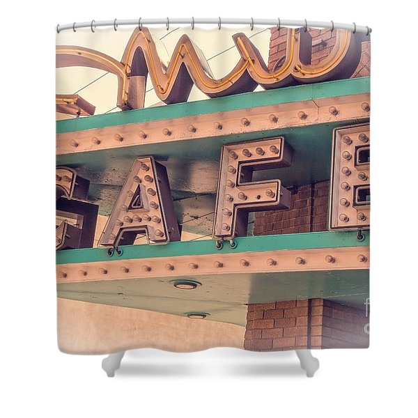 Vintage Neon Cafe Sign Livingston Montana Shower Curtain by Edward Fielding