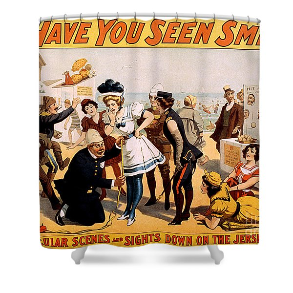 Vintage Nostalgic Poster - 8046 Shower Curtain by Wingsdomain Art and Photography