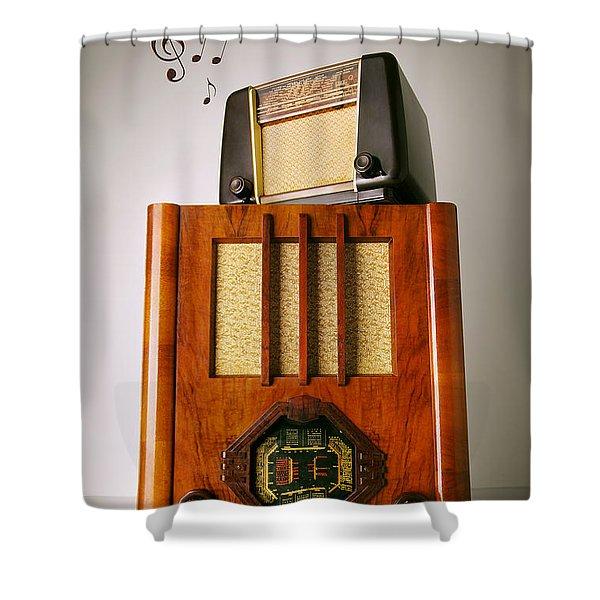 Vintage Radios Shower Curtain by Carlos Caetano