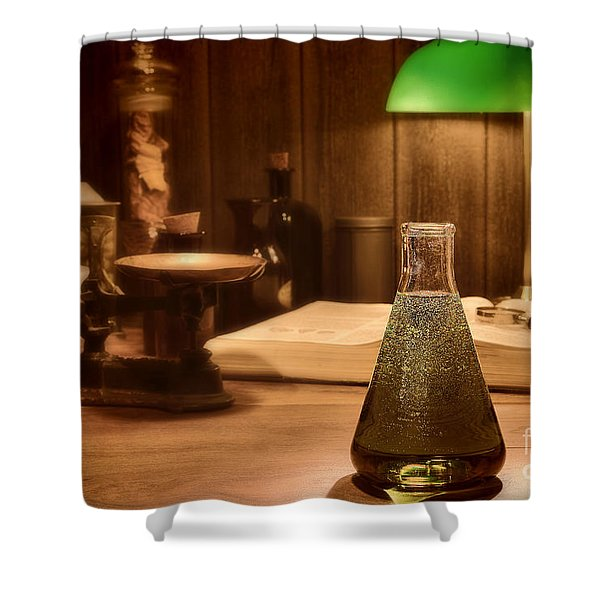 Vintage Science Laboratory Shower Curtain by Olivier Le Queinec