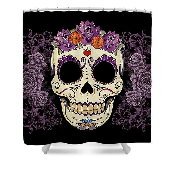 Vintage Sugar Skull And Roses Shower Curtain by Tammy Wetzel
