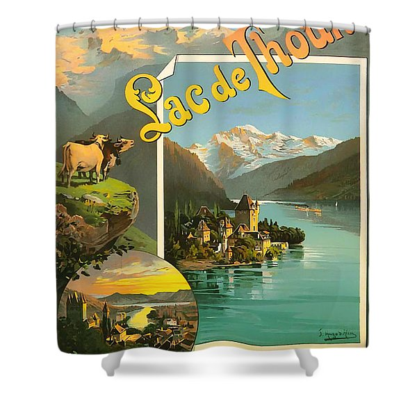 Vintage Tourism Poster 1890 Shower Curtain by Mountain Dreams