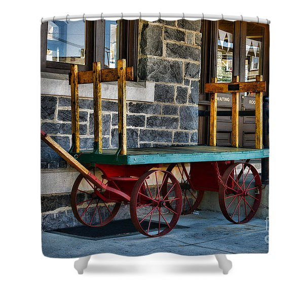 Vintage Train Baggage Wagon Shower Curtain by Paul Ward