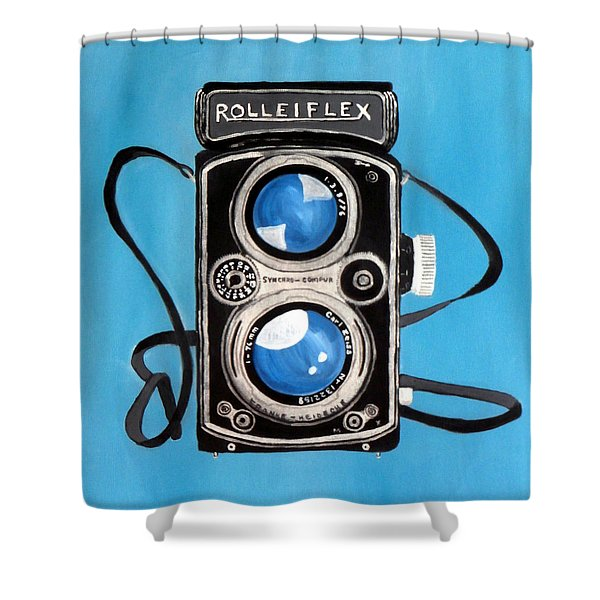 Vintage View Camera Shower Curtain by Karyn Robinson
