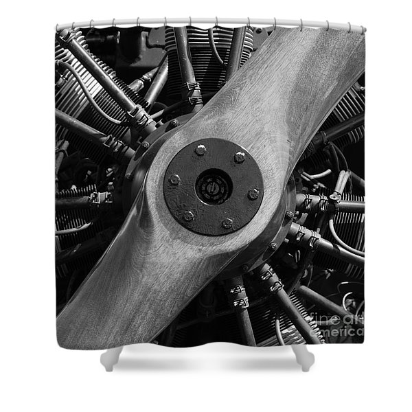 Vintage Wood Propeller - 7d15828 - Square - Black And White Shower Curtain by Wingsdomain Art and Photography