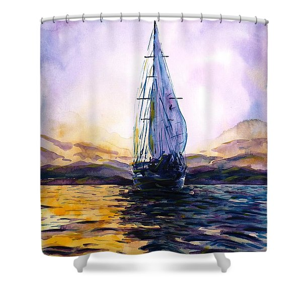 Violet Sunset Shower Curtain by Zaira Dzhaubaeva