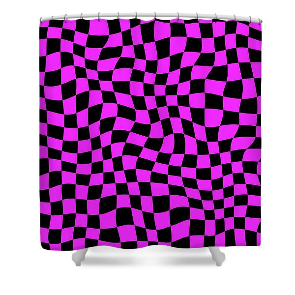 Violet Warped Polygons Shower Curtain by Daniel Hagerman