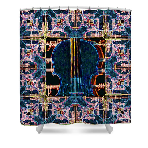 Violin Abstract Window - 20130128v1 Shower Curtain by Wingsdomain Art and Photography