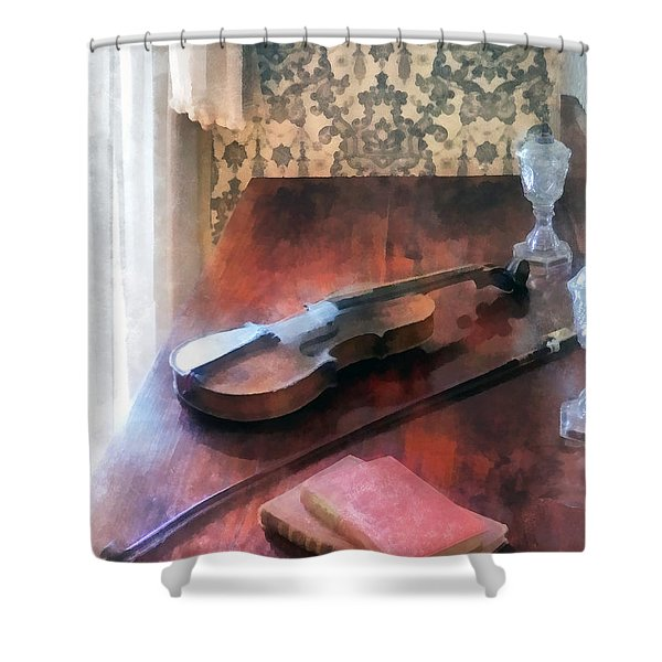 Violin on Credenza Shower Curtain by Susan Savad