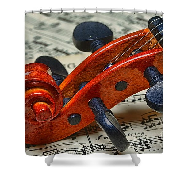 Violin Scroll Up Close Shower Curtain by Paul Ward