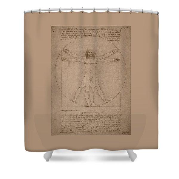 Vitruvian Man  Shower Curtain by War Is Hell Store