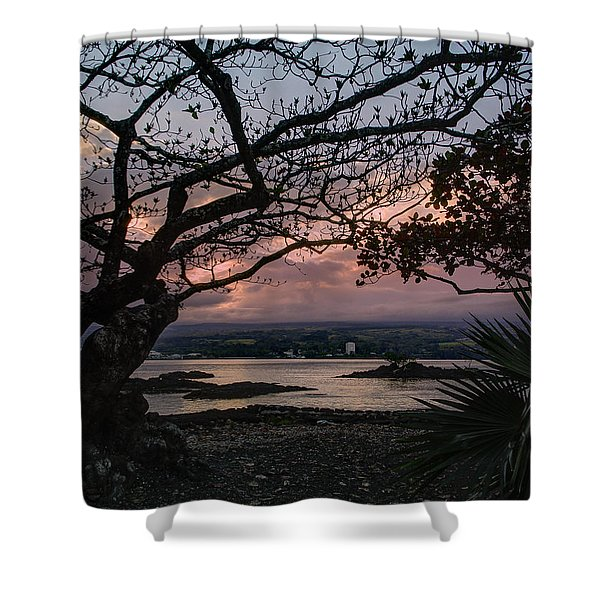 Volcanic Sunset On Hilo Bay - Big Island Shower Curtain by Daniel Hagerman