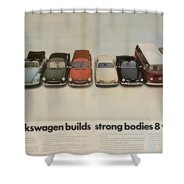 Volkswagen Body Facts Shower Curtain by Nomad Art And  Design