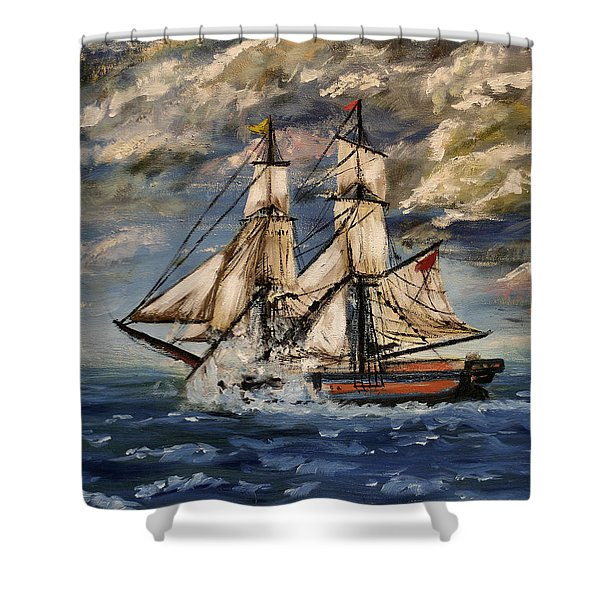 Voyage Of The Cloud Chaser Shower Curtain by Isabella F Abbie Shores LstAngel Arts
