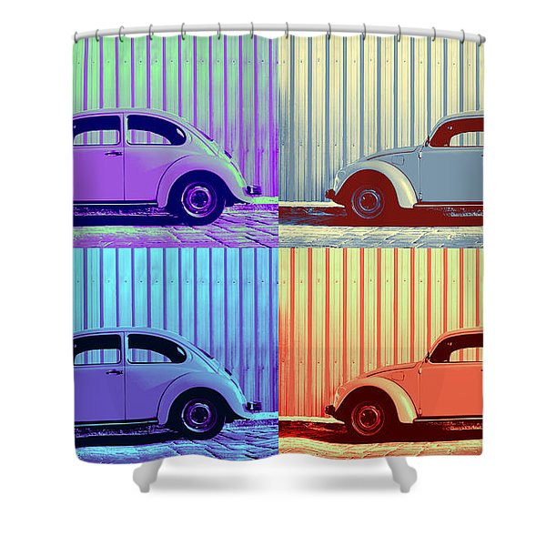 Vw Pop Winter Shower Curtain by Laura  Fasulo