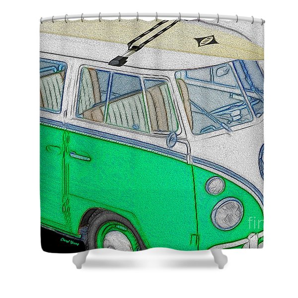 Vw Surf Bus Shower Curtain by Cheryl Young