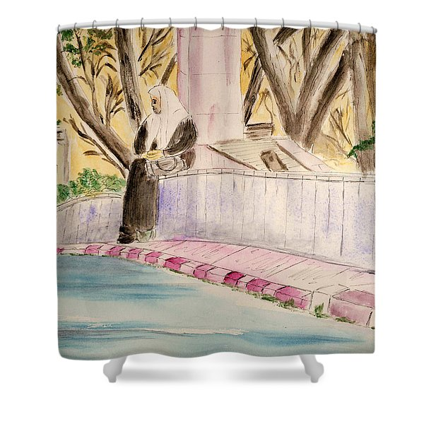 Waiting For Her Ride - Jerusalem Shower Curtain by Linda Feinberg