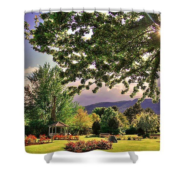 Waiting For The Roses To Bloom Shower Curtain by Eti Reid