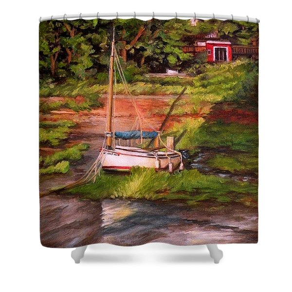 Waiting For The Tide Shower Curtain by Eileen Patten Oliver