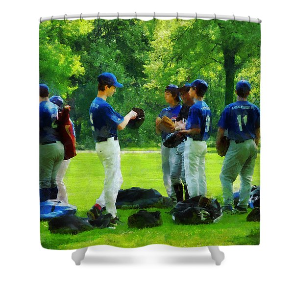 Waiting to Go to Bat Shower Curtain by Susan Savad