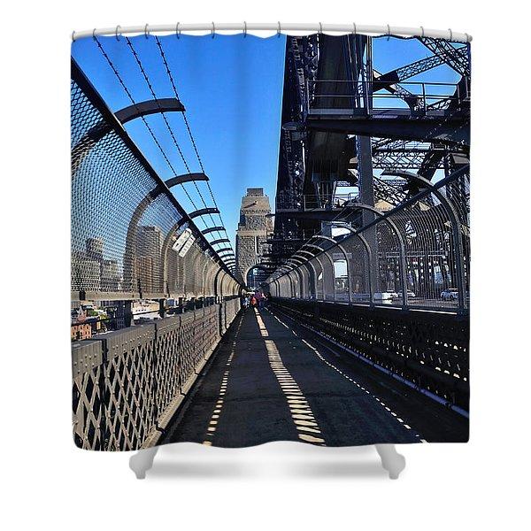 Walk across Sydney Harbour Bridge Shower Curtain by Kaye Menner