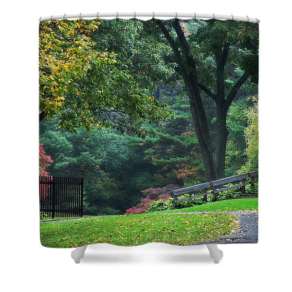 Walk in the Park Shower Curtain by Christina Rollo