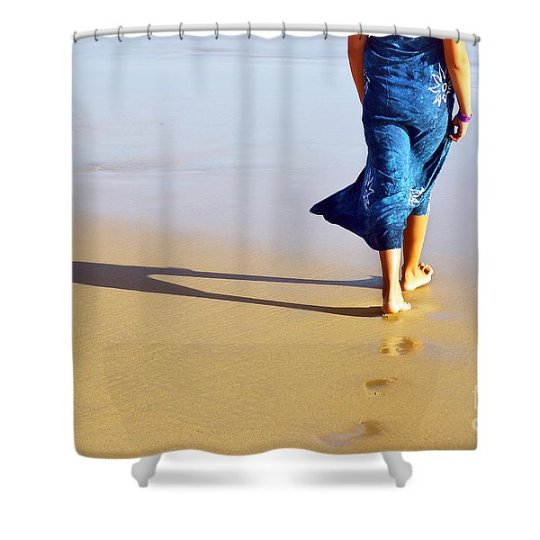 Walking On The Beach Shower Curtain by Carlos Caetano