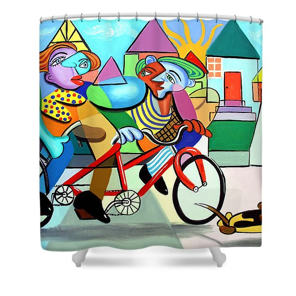 Walking The Dog Shower Curtain by Anthony Falbo