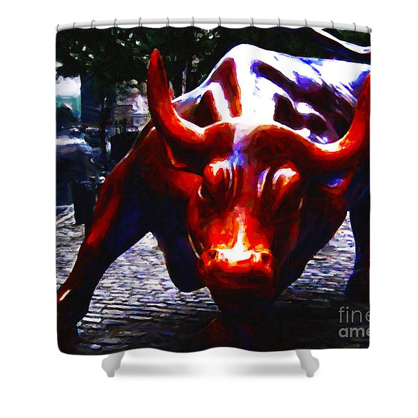 Wall Street Bull - Painterly Shower Curtain by Wingsdomain Art and Photography