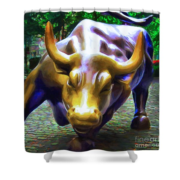Wall Street Bull v2 - square Shower Curtain by Wingsdomain Art and Photography